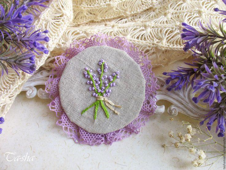 """Купить """"Lavender"""" бохо брошь сиреневая цветок лаванда вышивка - брошь цветок, брошь"""