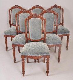 Antieke eetkamerstoelen / 6 Franse mahonie stoelen met blauw velours (84160) Verkocht