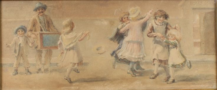 "Lot 512, Victorian watercolour, a study of dancing children in a street scene, unsigned 5"" x 15"", est  £200-300"