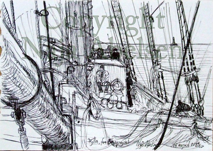 study aboard the danish schooner Fylla, drew it in 2013. This year I and my companion offer a drawing/watercolur course on her, can't wait till week 32! By Naja Abelsen, Denmark