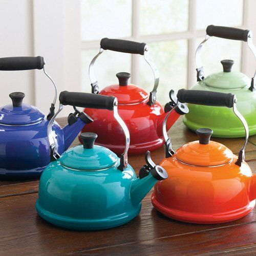Bright colors here in there in the kitchen...so fun Le Creuset Classic Whistling Tea Kettle