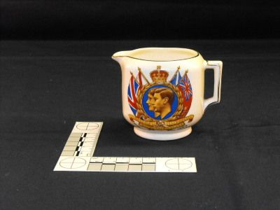Commemorative creamer from King George VI & Queen Elizabeth's Canadian tour, 1939. Admiral Digby Museum collection, Digby