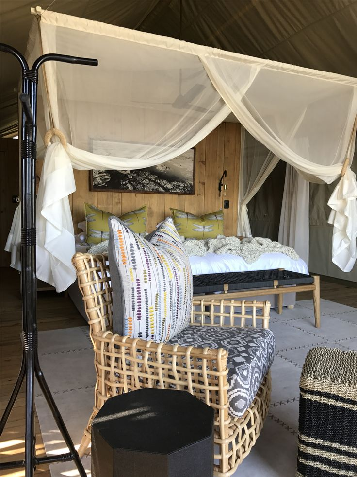 Beautiful bedroom in a bushveld lodge called Sable Alley in Botswana.