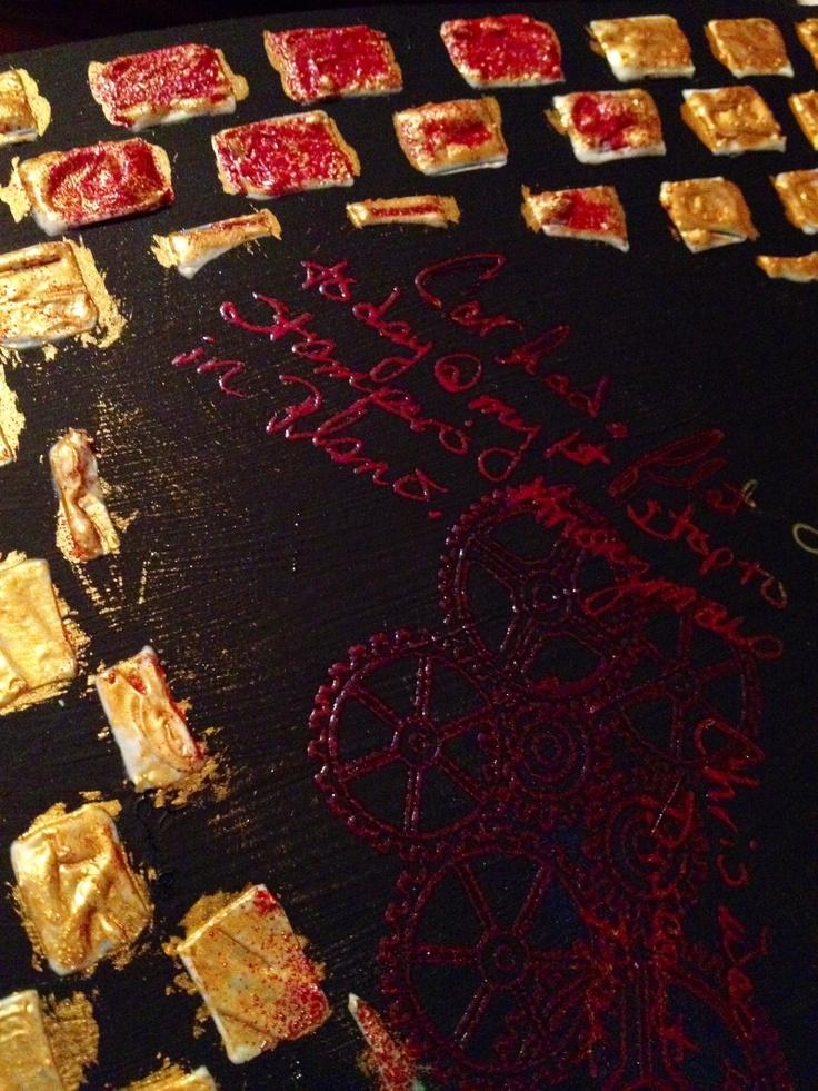 Mixed media golden molding paste, gold acrylic paint folk art, gold gel pen, lindys stamp gang embossing powder
