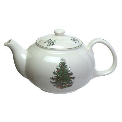 Cuthbertson Original Christmas Tree 1.5-qt. Traditional Teapot in White