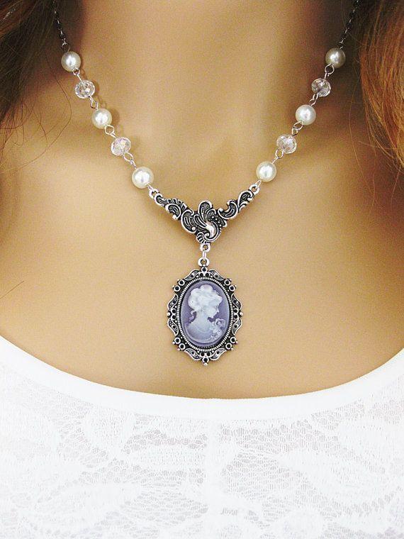 Victorian Cameo Necklace Purple Cameo Necklace by RalstonOriginals