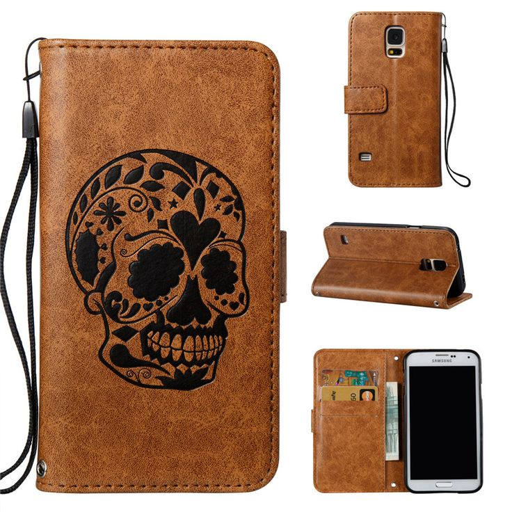 Vannego For Samsung Galaxy S5 Case Cover Luxury Cute Skull For Samsung Galaxy S5 Leather Wallet Magnetic Phone Case Cute Skull P //Price: $US $3.74 & FREE Shipping //     #hashtag2