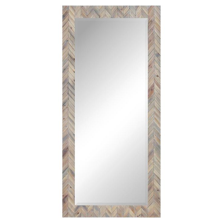 Chevron mirror in a soft whitewashed wood finish. This mirror is great when you need to add another layer or...
