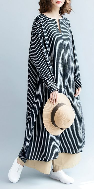 Fashion Casual Striped Linen Shirt Women Long Blouse For Autumn S3084