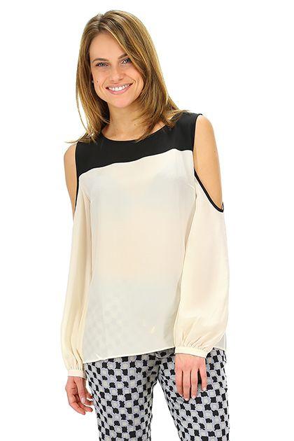 CamicettaSnob - Camicie - Abbigliamento - Camicia in seta bi-color con chiusura a bottoncino sul retro.La nostra modella indossa la taglia /EU 40. - PANNA\NERO - € 169.00