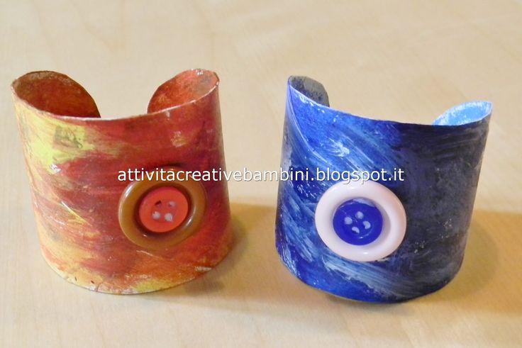 Attività Creative Per Bambini: Braccialetto riciclato per la Festa della Mamma... Da rotolo di cartone a braccialetto!