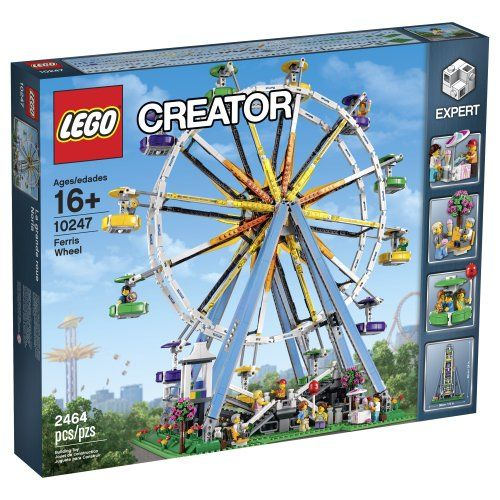 Experience the wonderful LEGO Creator Ferris Wheel! Build the iconic Ferris Wheel featuring 12 colorful suspended gondolas with opening doors ice cream stall kiosk 10 minifigures and more. Build t...