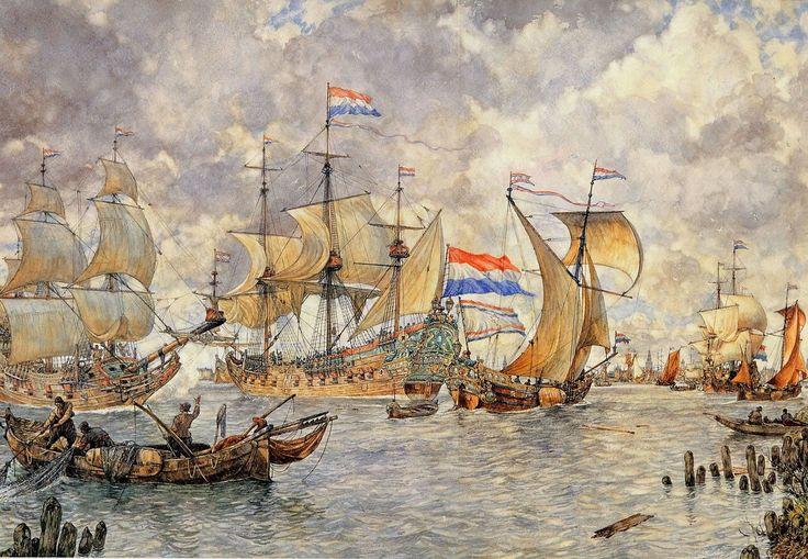 Binnenkomende-vloot voor.Amsterdam, 1665 Schoolplaat -Isings.