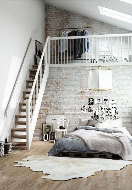 dormitorio con paredes de ladrillo visto pintadas y ladrillos decoracion