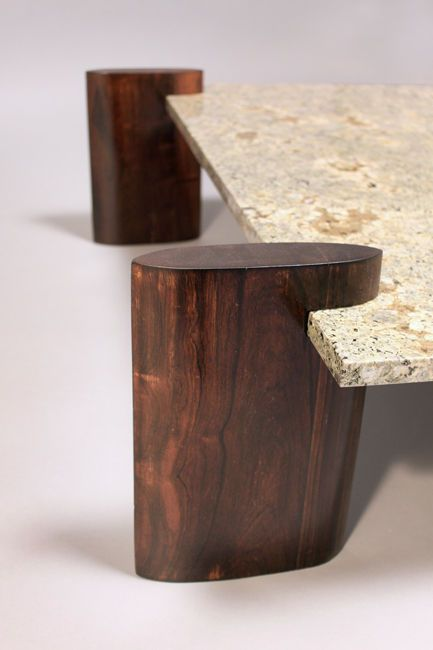 Rosewood and Pale Blue Granite Coffee Table Attributed to Celina 4