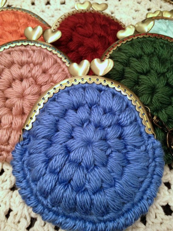 blue warm cozy crochet coin purse