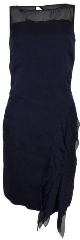 Jessica Simpson Women's Illusion Tiered Ruffled Crepe Dress (12, Peacoat)