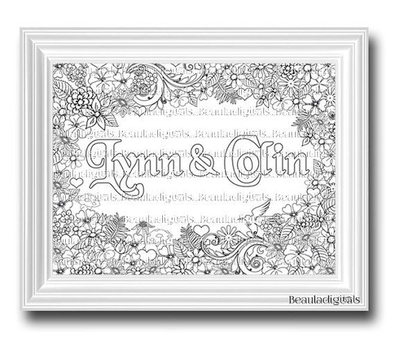 Personalized & Custom Coloring Dual Names Color by Beauladigitals