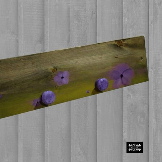 Rustic Wall Coat Rack Purple Flowers FREE SHIPPING Wood Wall