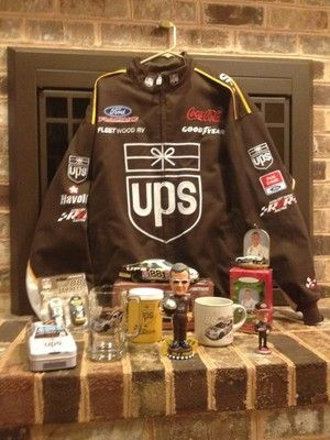 """10 United Parcel Service Dale Jarrett Racing - All Old Shield...""""Chase Authentics XL Racing jacket - 2001 Ford action 1:24 race car - Palmer collectible candy tin-8 inch -  Dale Jarrett bobble head - 16 ounce beer mugs - UPS racing cold cup holder - 2001 Dale Jarrett ornament -1:64  - 2 stock cars: one """"We want to race the truck"""" - Dale Jarrett coffee mug - 4.5 inch - Dale Jarrett coke promotion."""