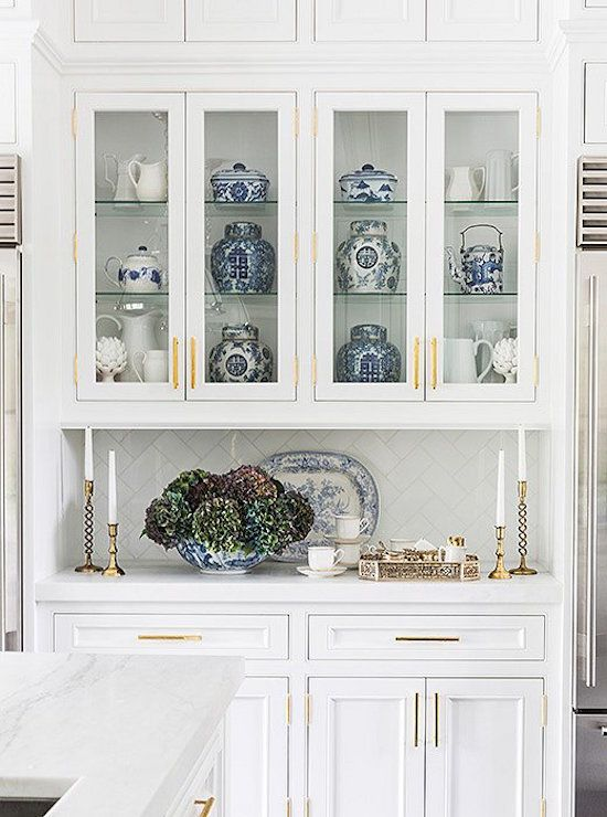 Our House On One Kings Lane | pretty white kitchen with blue and white Chinoiserie porcelain on display