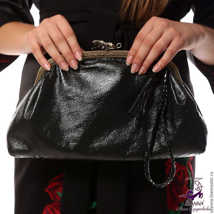 """Купить Эффектная сумка из лаковой натуральной кожи """"Ягуар"""" - сумка, сумочка…"""