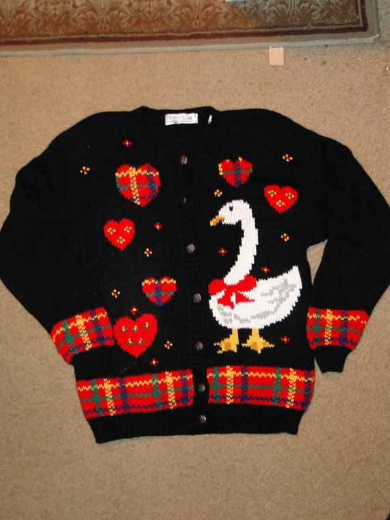 "Size Small or Medium Cheap Ugly Christmas Sweater / Cardigan - Tacky, Gaudy, Novelty, Holiday, Xmas  by EtsyAttic on Etsy J2363. $18.99, via Etsy.    ""Really, Bob? Geese?""    ""Geese. and Plaid."""