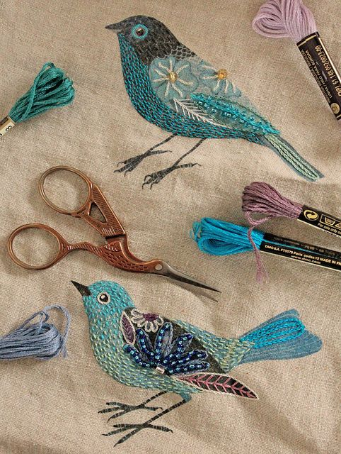 Beaded Birds- Glass beads and cotton embroidery thread.