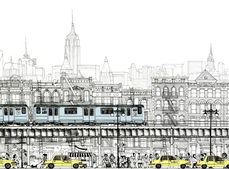 Manhattan Street, New York | Manhattan Street, New York | Work | work | jelly illustration | jelly