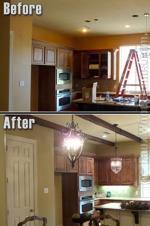 Small Kitchen Timber Beam Ceiling