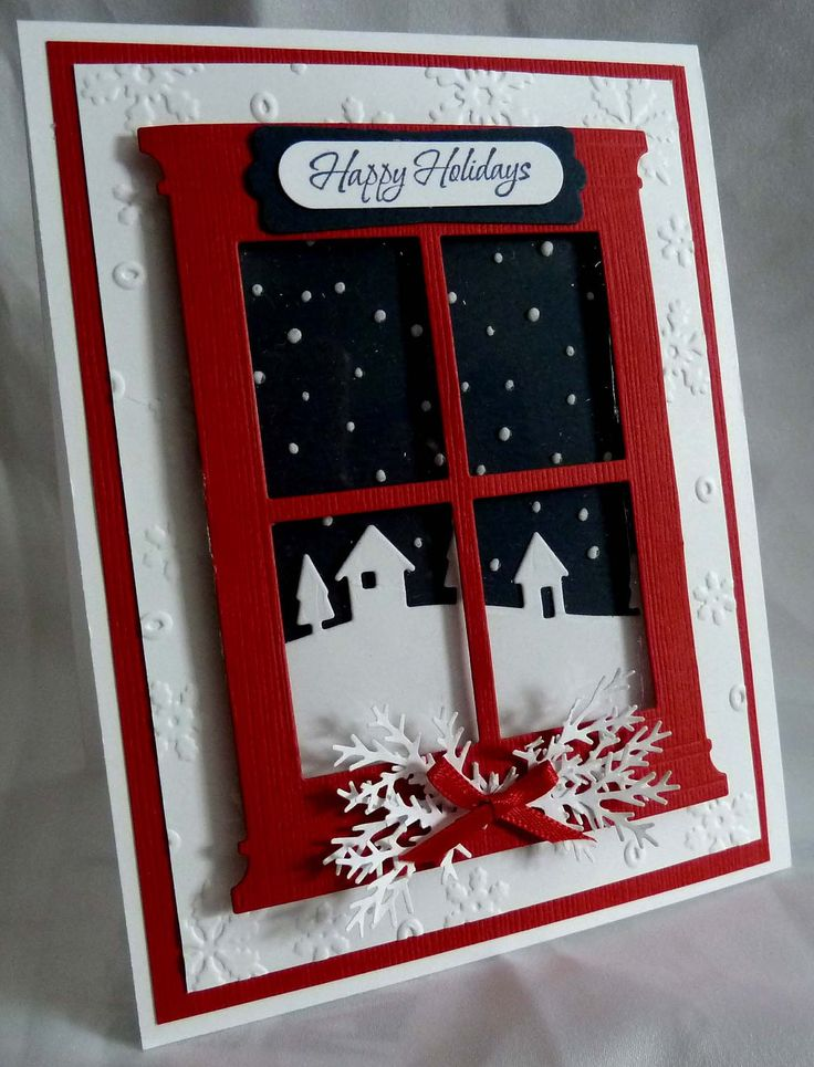 """Handmade """"Happy Holidays"""" Window Christmas Card with snowflakes embossing background - Card Kit - Set of 5. $32.95, via Etsy."""