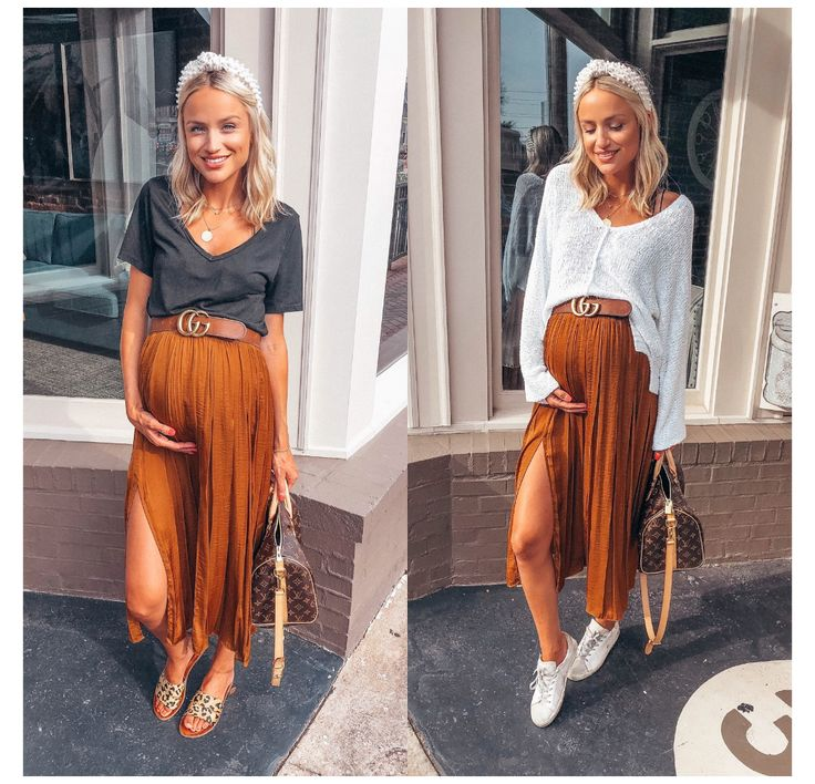 Casual Maternity Outfits, Stylish Maternity, Pregnancy Outfits, Maternity Wear, Maternity Skirts, Summer Maternity Fashion, Pleated Skirt Outfit, Long Skirt Outfits, Pregnancy Looks