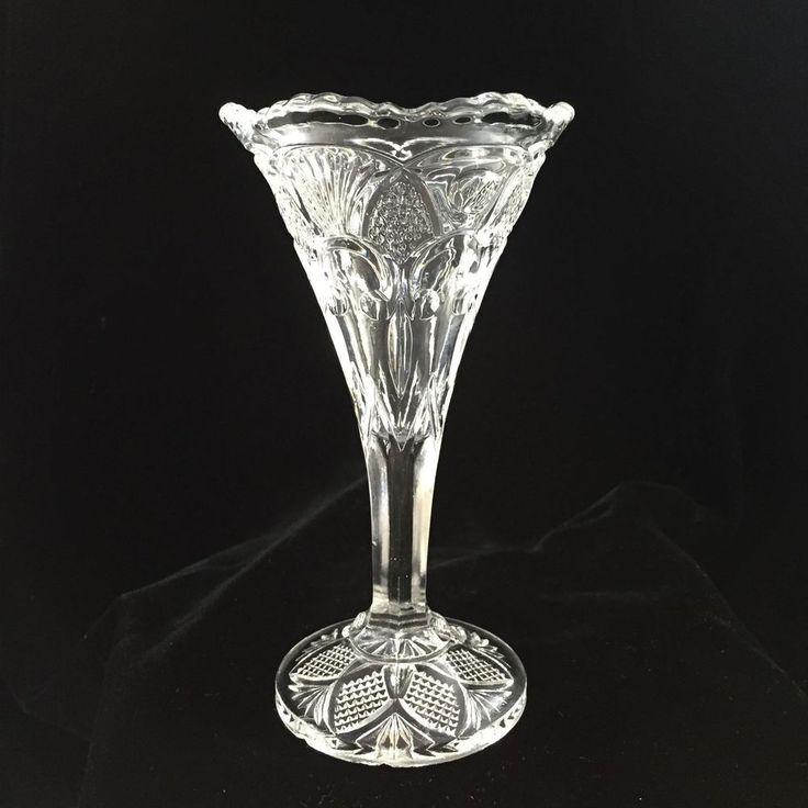 EAPG U.S. Glass Footed Trumpet Vase Fleur-de-Lis Thumbprint Bud Vase