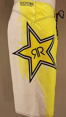 Fox Racing & Rockstar Energy Drink collaboration boardshorts.  White with red and yellow tie dye
