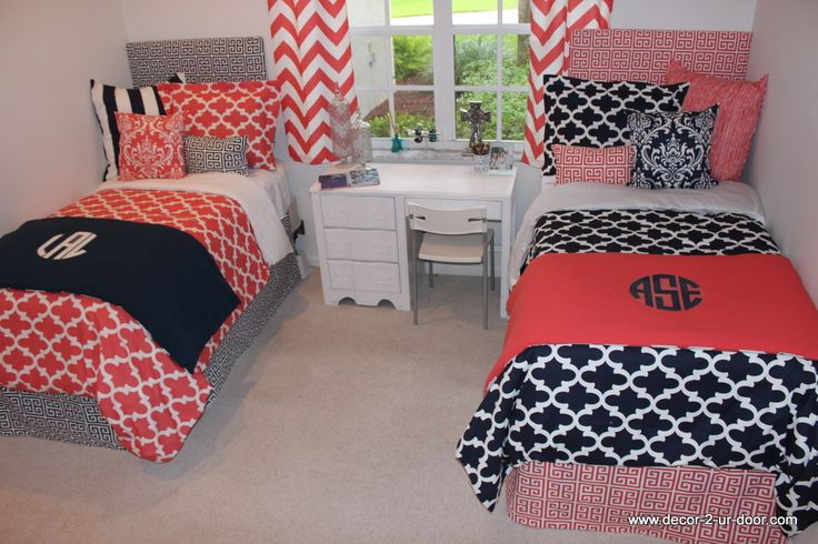 Coral and Navy Dorm Room. Perfect way to coordinate with your room mate. Custom dorm room duvet, monogramming, headboards, bed skirts, bed scarfs, window panels. Check out www.decor-2-ur-door.com to design your dream dorm room!!