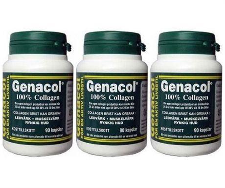 Genacol är 100% collagen i pulverform är ett protein komplex som framställs genom en unik process kallad för AMINOLOCK SEQUENCE TECHNOLOGY. Detta är en speciell metod utvecklad av forsknings-och utvecklingsavdelningen hos Direct Lab Inc. Genacol är tillverkad till en mycket hög bioteknisk standard och uppfyller alla Europeiska länders regler och krav. Genacol är en högkvalitativ produkt i 400 grams kapslar utan konserveringsmedel och utan tillsatser.