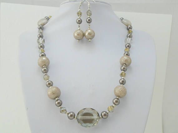 Metallic Jewellery set, beaded jewelry set, pearl necklace and earring set, crystal jewelry, pearl jewellery, Long Necklace, Coffee jewelry