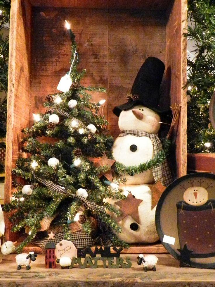 73 best Primitive Christmas Decor images on Pinterest Primitive - primitive christmas decorations