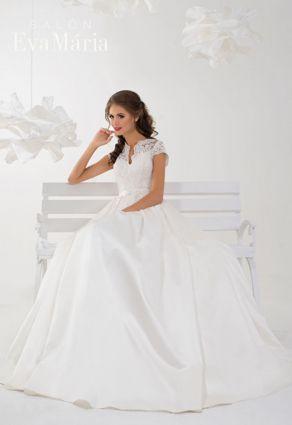 Prekrásne svadobné šaty s čínskym výstrihom