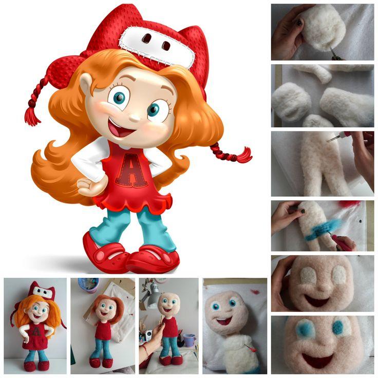 Needle felting process - making Amy from Toy Blast game - keceinadi.com