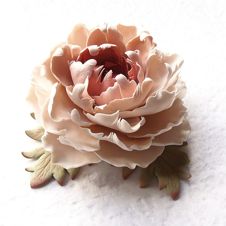 """Polymer clay jewelry brooch. Cream - beige -  soft pink - brown peony brooch """"Vintage lace"""" .Clay flower brooch."""