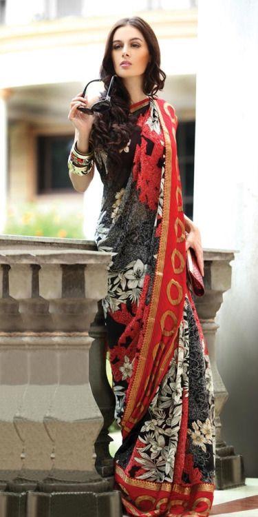 Gorgeous patterned sari with giant fashion bangles