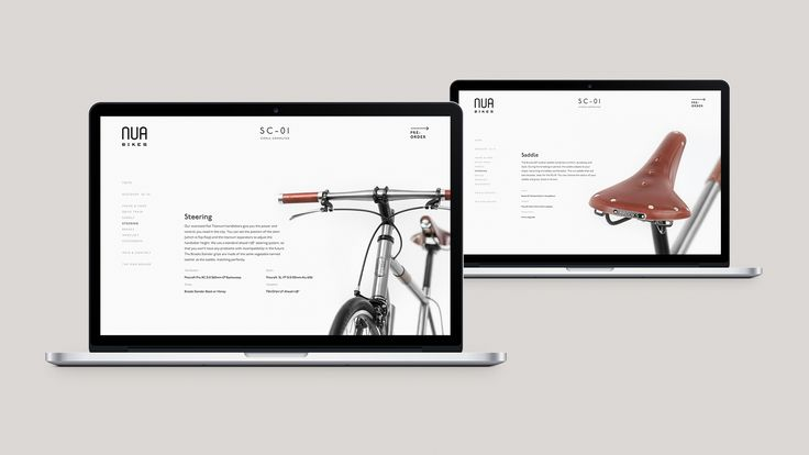 Nua Bikes web design. Product page with background images. Minimal graphic design
