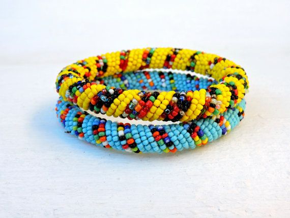 2 African bangles blue and yellow spiral bracelet by akwaabaAfrica