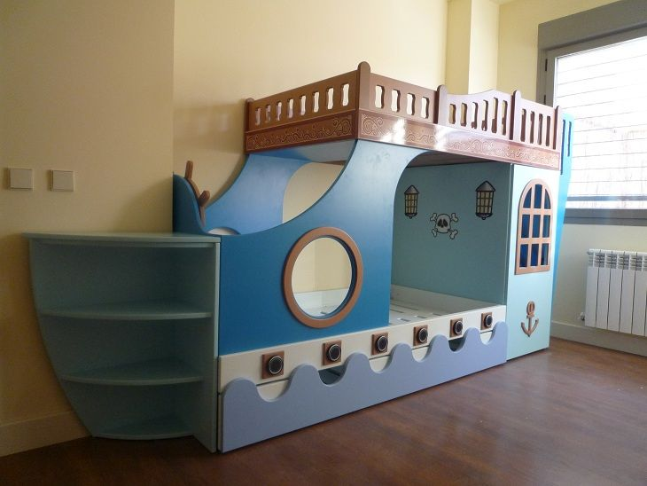 M s de 1000 ideas sobre cama barco pirata en pinterest for Habitaciones infantiles pequenas para dos