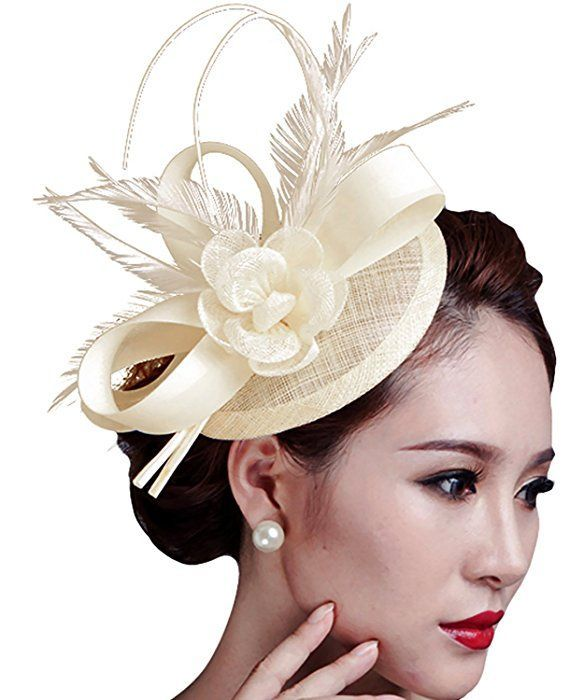 Fascigirl Sinamay Fascinator Hat Feather Party Pillbox Hat Flower Derby Hat  For Women (Beige) at Amazon Women s Clothing store   HatsForWomenDerby d22aae4bb60