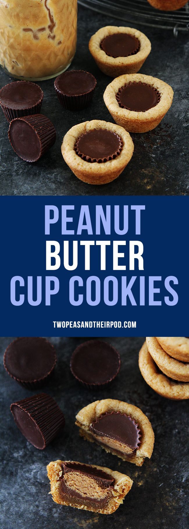 Peanut Butter Cup Cookies are a peanut butter lover's dream! You will love the peanut butter cup inside! A fun cookie to make and eat! #cookies #holidays #peanutbutter