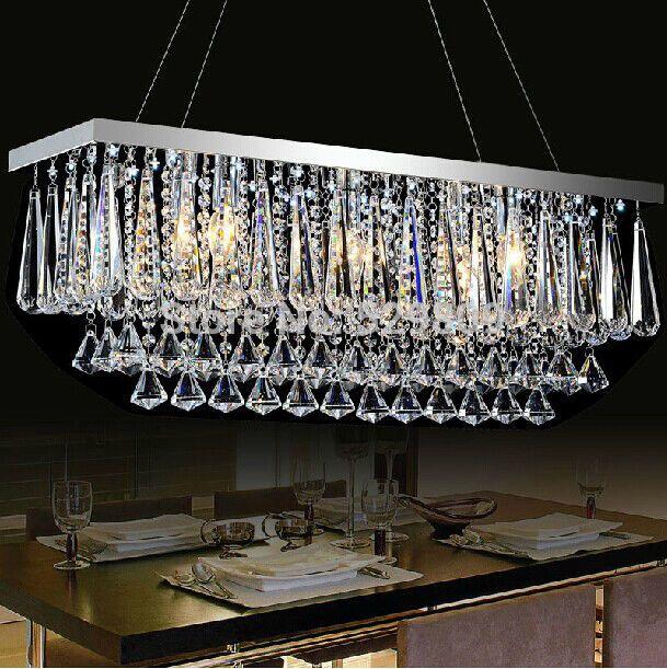 Rain Drop Design Rectangle Lustre Crystal Pendant Lamp For Dining Room Bar Lighting  Bulbs