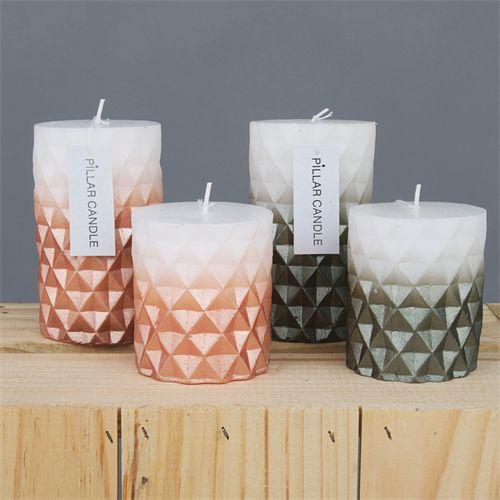metallic geo candles