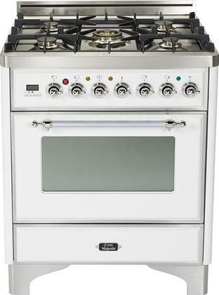 """UM-76-DMP-B-X 30"""" Majestic Series Freestanding Dual Fuel Range with 5 Sealed Burners 3.0 cu. ft. Primary Oven Capacity Convection Oven Warming Drawer Chrome Trim in True White"""